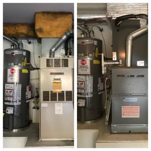 before and after of a new furnace installed in garage